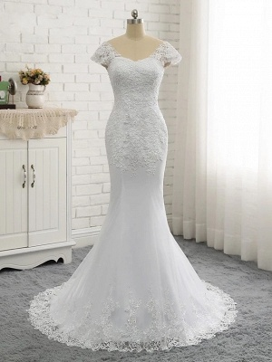 Mermaid \ Trumpet Wedding Dresses V Neck Court Train Lace Tulle Lace Over Satin Cap Sleeve Glamorous Backless_6