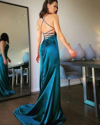 ZY109 Simple Evening Dresses Long Green Evening Wear Online_3