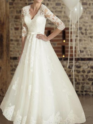 A-Line Wedding Dresses V Neck Floor Length Lace Tulle Half Sleeve Country Plus Size_1