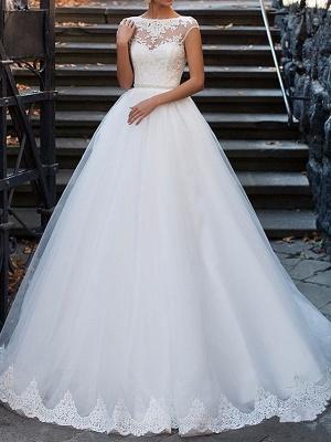 A-Line Wedding Dresses Bateau Neck Sweep \ Brush Train Lace Cap Sleeve Glamorous Vintage Illusion Detail Backless_1