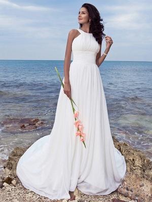 A-Line Wedding Dresses Jewel Neck Sweep \ Brush Train Chiffon Regular Straps Formal Beach Plus Size_1