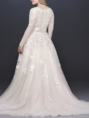 A-Line Wedding Dresses V Neck Court Train Lace Tulle Long Sleeve Illusion Sleeve_2