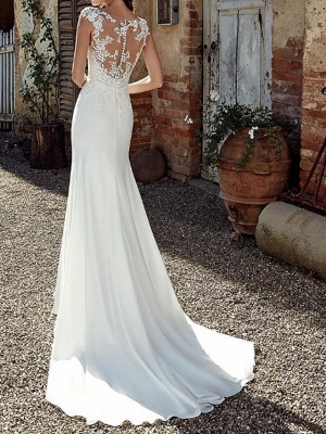 Mermaid \ Trumpet Wedding Dresses Jewel Neck Sweep \ Brush Train Chiffon Cap Sleeve Illusion Detail Backless_3