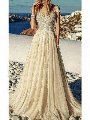 A-Line Sweetheart Neckline Sweep \ Brush Train Polyester Short Sleeve Country Plus Size Wedding Dresses_1