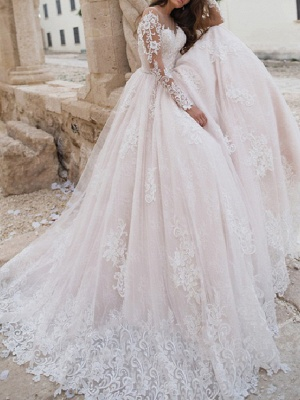A-Line Jewel Neck Sweep \ Brush Train Lace Tulle Long Sleeve Country Sexy Wedding Dress in Color Illusion Sleeve Wedding Dresses_1