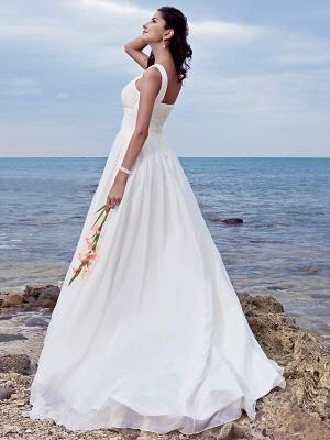 A-Line Wedding Dresses Jewel Neck Sweep \ Brush Train Chiffon Regular Straps Formal Beach Plus Size_7