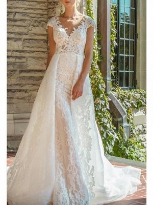 A-Line V Neck Court Train Lace Cap Sleeve Wedding Dresses_1