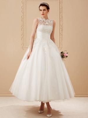 A-Line Wedding Dresses High Neck Ankle Length Lace Over Tulle Regular Straps Vintage Little White Dress Illusion Detail_12