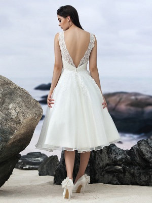 A-Line Wedding Dresses Bateau Neck Knee Length Organza Regular Straps Formal Casual Little White Dress Illusion Detail Backless_2
