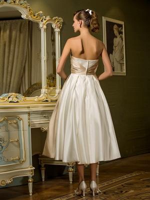 A-Line Wedding Dresses Sweetheart Neckline Tea Length Satin Strapless Casual Vintage Little White Dress Plus Size_5
