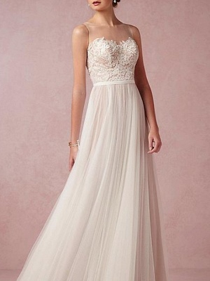 A-Line Wedding Dresses Jewel Neck Sweep \ Brush Train Lace Tulle Sleeveless Beach Sexy See-Through Backless_3