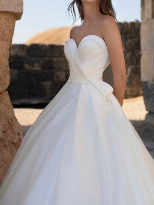 A-Line Wedding Dresses Sweetheart Neckline Sweep \ Brush Train Polyester Sleeveless Country Plus Size_4