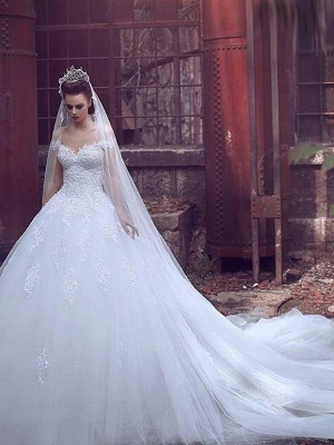 Ball Gown Wedding Dresses Off Shoulder Sweep \ Brush Train Lace Tulle Short Sleeve Glamorous Illusion Detail_3