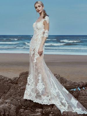 Mermaid \ Trumpet Wedding Dresses Scoop Neck Sweep \ Brush Train Lace Tulle Half Sleeve Beautiful Back_3