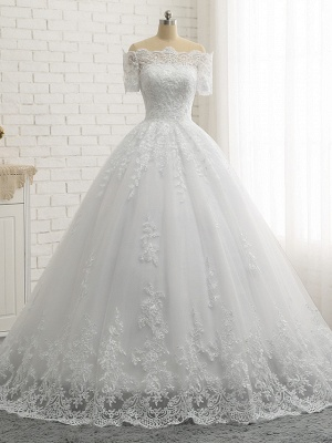 Ball Gown A-Line Wedding Dresses Off Shoulder Court Train Lace Tulle Lace Over Satin Short Sleeve Country Illusion Detail Backless_4