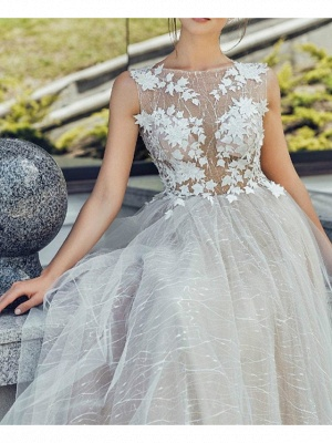 A-Line Wedding Dresses Jewel Neck Sweep \ Brush Train Lace Tulle Polyester Short Sleeve Formal Plus Size_3