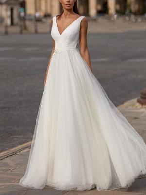 A-Line Wedding Dresses V Neck Floor Length Tulle Regular Straps Plus Size_1