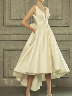 A-Line Wedding Dresses V Neck Asymmetrical Satin Regular Straps Simple Casual Vintage Little White Dress_2
