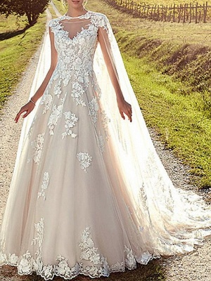 A-Line Wedding Dresses Jewel Neck Sweep \ Brush Train Lace Tulle Cap Sleeve Formal Sexy Backless Cape_1