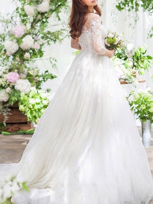A-Line Wedding Dresses Off Shoulder Sweep \ Brush Train Lace 3\4 Length Sleeve Country Romantic See-Through Illusion Detail_2