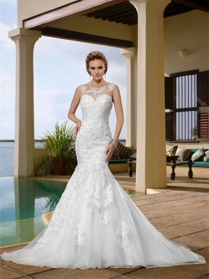 Mermaid \ Trumpet Wedding Dresses Scoop Neck Court Train Lace Regular Straps Country_1