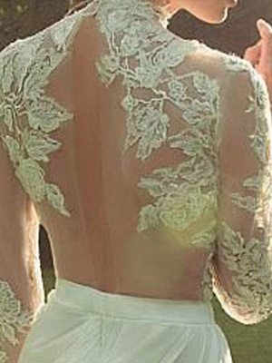 A-Line Wedding Dresses High Neck Court Train Lace Polyester Long Sleeve Country Illusion Sleeve_4