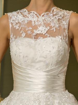 A-Line Wedding Dresses High Neck Ankle Length Lace Over Tulle Regular Straps Vintage Little White Dress Illusion Detail_7
