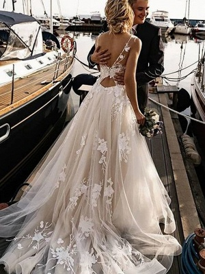 A-Line Wedding Dresses V Neck Court Train Tulle Spaghetti Strap Backless_2