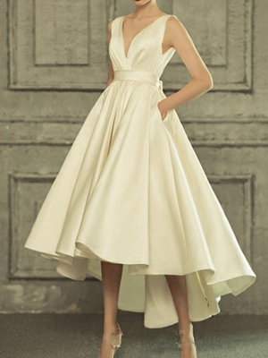 A-Line Wedding Dresses V Neck Asymmetrical Satin Regular Straps Simple Casual Vintage Little White Dress_1
