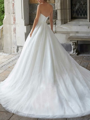 A-Line Wedding Dresses Strapless Sweep \ Brush Train Tulle Sleeveless Simple_2