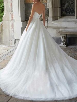 A-Line Wedding Dresses Strapless Sweep \ Brush Train Tulle Sleeveless Simple_2