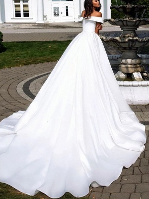 Ball Gown A-Line Wedding Dresses Off Shoulder Cathedral Train Polyester Short Sleeve_2