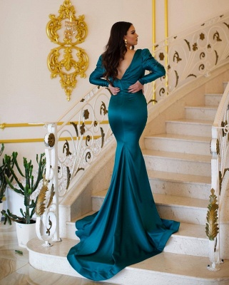 ZY092 Green Evening Dresses With Sleeves | Prom Dresses Long Cheap_3