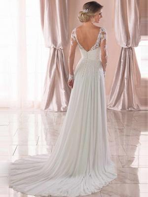 A-Line Wedding Dresses V Neck Chapel Train Chiffon Satin Long Sleeve Romantic Illusion Sleeve_3
