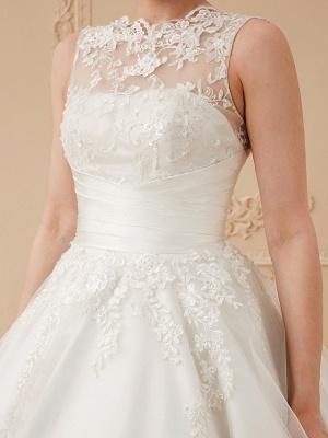 A-Line Wedding Dresses High Neck Ankle Length Lace Over Tulle Regular Straps Vintage Little White Dress Illusion Detail_15
