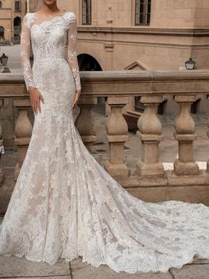 Mermaid \ Trumpet Bateau Neck Sweep \ Brush Train Lace Long Sleeve Romantic Boho Sexy Backless Illusion Sleeve Wedding Dresses_1