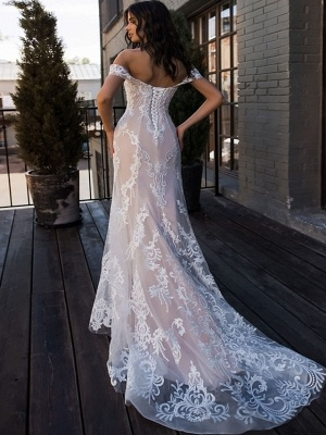 Mermaid \ Trumpet Wedding Dresses Sweetheart Neckline Court Train Lace Regular Straps Boho Illusion Detail_2