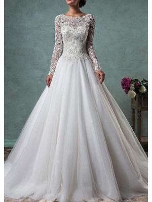 A-Line Wedding Dresses Jewel Neck Sweep \ Brush Train Lace Tulle Long Sleeve Glamorous Backless Illusion Sleeve_1