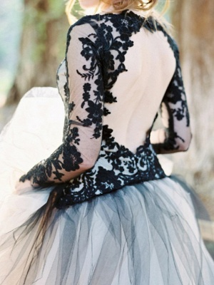 Ball Gown Wedding Dresses V Neck Sweep \ Brush Train Polyester Long Sleeve Formal Plus Size Black Modern_3