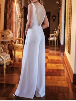 Two Piece Jumpsuits Wedding Dresses V Neck Sweep \ Brush Train Polyester Sleeveless Country Plus Size_3