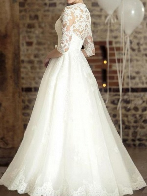 A-Line Wedding Dresses V Neck Floor Length Lace Tulle Half Sleeve Country Plus Size_2