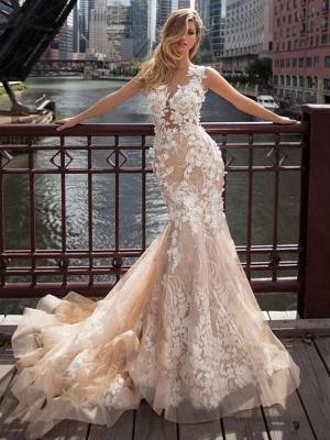 Mermaid \ Trumpet Jewel Neck Chapel Train Lace Tulle Regular Straps Illusion Detail Backless Wedding Dresses_1