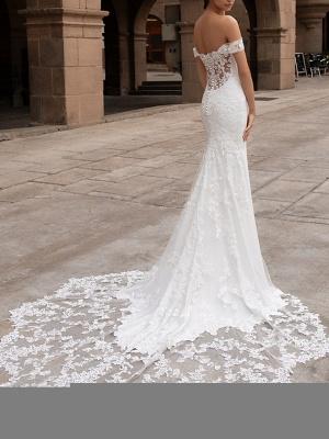 Mermaid \ Trumpet Wedding Dresses Off Shoulder Court Train Lace Satin Short Sleeve Romantic Plus Size_2