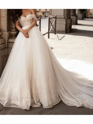 Ball Gown Off Shoulder Chapel Train Tulle Polyester Short Sleeve Country Plus Size Wedding Dresses_2