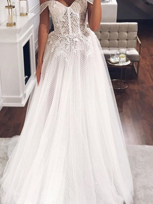 A-Line Off Shoulder Sweep \ Brush Train Tulle Short Sleeve Country Plus Size Wedding Dresses_2