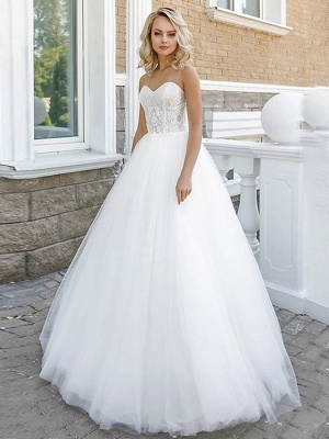 A-Line Wedding Dresses Strapless Floor Length Lace Tulle Strapless Sexy Plus Size_1