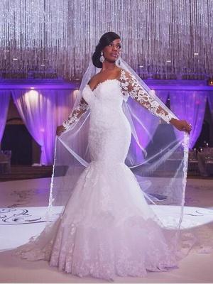 Mermaid \ Trumpet Wedding Dresses Scoop Neck Court Train Organza Long Sleeve Sexy Wedding Dress in Color_1