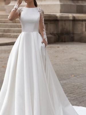 A-Line Wedding Dresses Jewel Neck Sweep \ Brush Train Lace Satin Long Sleeve Simple Sexy See-Through_3