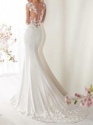 Mermaid \ Trumpet Wedding Dresses Jewel Neck Court Train Satin Cap Sleeve Sexy See-Through Illusion Detail_3