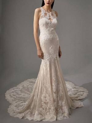 Sheath \ Column Wedding Dresses Jewel Neck Chapel Train Lace Sleeveless Sexy Wedding Dress in Color_3